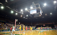 02.08.2017 Action during a netball match between Australia and England at the Brisbane Entertainment Centre in Brisbane Australia. Mandatory Photo Credit ©Michael Bradley.