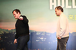 "Quentin Tarantino and Leonardo DiCaprio attend the press conference for their movie ""Once Upon a Time in Hollywood"" in Tokyo, Japan on August 26, 2019.  The film will be released in Japan on August 30.   (Photo by AFLO)"