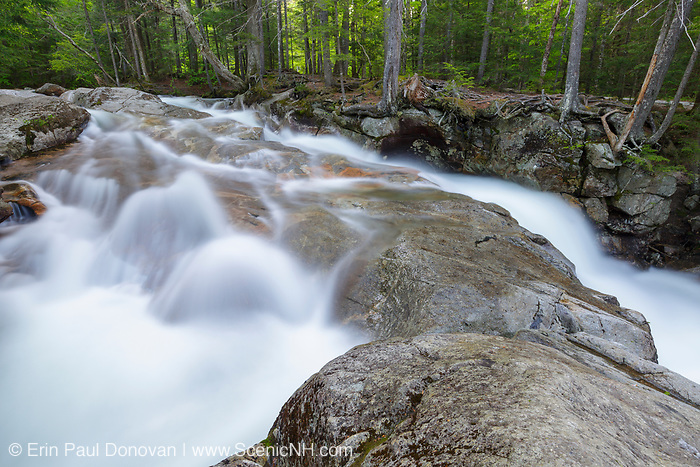 "Franconia Notch State Park - The Pemigewasset River just above ""The Basin"" viewing area in Lincoln, New Hampshire during the spring snowmelt season."