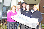 CHEQUE: Ray O'Sullivan donated a cheque for EUR3,000 to the Palliative Day Care Centre in KGH on Tuesday from the proceeds of his CD. From l-r were: Peggy Doolan, Padraig Dennehy, Ray O'Sullivan, Mari O'Connell and Cathy O'Sullivan.
