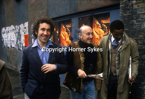 Simon Callow with the painter Felix Topolski outside the National Theatre South Bank London 1970s. UK.