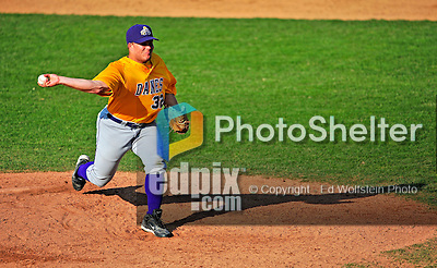 19 April 2009: University at Albany Great Danes' right handed pitcher Sean Gregory, a Senior from West Islip, NY, on the mound against the University of Vermont Catamounts at Historic Centennial Field in Burlington, Vermont. The Great Danes defeated the Catamounts 9-4 in the second game of a double-header. Sadly, the Catamounts are playing their last season of baseball, as the program has been marked for elimination due to budgetary constraints on the University. Mandatory Photo Credit: Ed Wolfstein Photo