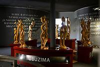 RWANDA, Kigali, Kigali Genocide Memorial , a museum and memorial to remember the genocide of 1994 where about 1 million Tutsi were murdered by Hutu, sculpture rwandian word Ubuzima - the life / RUANDA, Kigali, Voelkermorddenkmal, Museum, Denkmal und Ruhestaette fuer 250.000 Opfer des Genozids an der Tutsi Bevoelkerungsgruppe im Jahr 1994, Kigali Genocide Memorial, Skulptur mit Inschrift Ubuzima dt. Das Leben