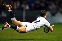 Cameron Redpath of England U20 scores a try in the second half. U20 Six Nations match, between England U20 and Scotland U20 on March 15, 2019 at Franklin's Gardens in Northampton, England. Photo by: Patrick Khachfe / JMP
