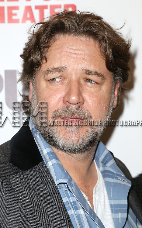 Russell Crowe attends the Opening Night Celebration of 'Grounded' at the The Public Theatre on April 24, 2015 in New York City.