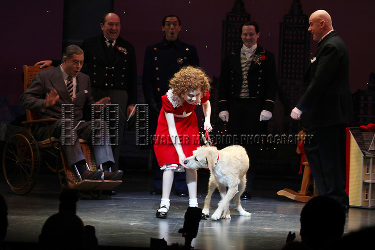 Lilla Crawford & Sunny during the Broadway Opening Night Performance Curtain Call for 'Annie' at the Palace Theatre in New York City on 11/08/2012