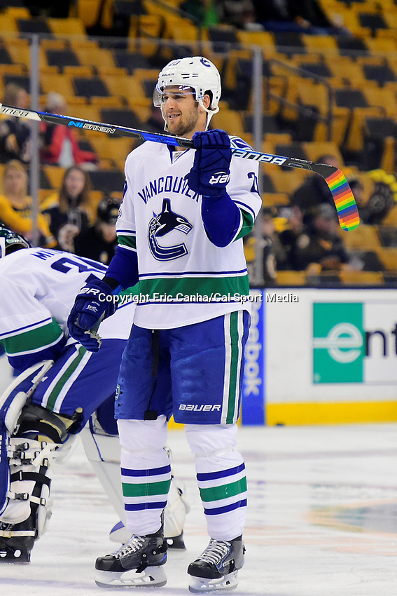 February 11, 2017: Vancouver Canucks center Brandon Sutter (20) warms up before the National Hockey League game between the Vancouver Canucks and the Boston Bruins held at TD Garden, in Boston, Mass. Boston defeats Vancouver 4-3 in regulation time. Eric Canha/CSM