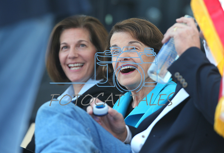 From left, U.S. Sens. Catherine Cortez Masto, D-Nev., and Dianne Feinstein, D-Calif., react to a speaker at the 22nd annual Lake Tahoe Summit, at Sand Harbor State Park, near Incline Village, Nev., on Tuesday, Aug. 7, 2018. <br /> Photo by Cathleen Allison/Nevada Momentum