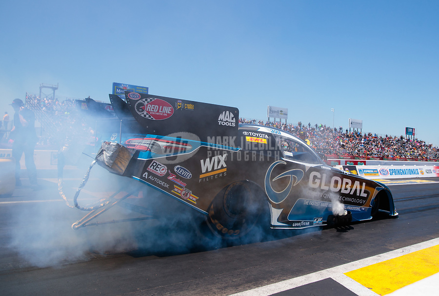 Apr 14, 2019; Baytown, TX, USA; NHRA funny car driver Shawn Langdon during the Springnationals at Houston Raceway Park. Mandatory Credit: Mark J. Rebilas-USA TODAY Sports
