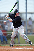 Plymouth State Panthers catcher Chris Mansour (32) at bat during the second game of a doubleheader against the Edgewood Eagles on March 17, 2016 at Lee County Player Development Complex in Fort Myers, Florida.  Plymouth State defeated Edgewood 16-3.  (Mike Janes/Four Seam Images)