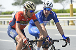Race leader Elia Viviani (ITA) Quick-Step Floors chats with Vincenzo Nibali (ITA) Bahrain-Merida during Stage 5 The Meraas Stage final stage of the Dubai Tour 2018 the Dubai Tour&rsquo;s 5th edition, running 132km from Skydive Dubai to City Walk, Dubai, United Arab Emirates. 10th February 2018.<br /> Picture: LaPresse/Fabio Ferrari | Cyclefile<br /> <br /> <br /> All photos usage must carry mandatory copyright credit (&copy; Cyclefile | LaPresse/Fabio Ferrari)
