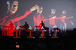 © Joel Goodman - 07973 332324 . 20/07/2013 . Suffolk , UK . Kraftwerk perform their 3D show on the Obelisk Stage . The Latitude music and culture festival in Henham Park , Southwold . Photo credit : Joel Goodman