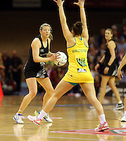 15.09.2013 Silver Ferns Anna Thompson in action during the Silver Ferns V Australian Diamonds New World Netball Series played at SIT Zero Fees Velodrome in Invercargill. Mandatory Photo Credit ©Michael Bradley.