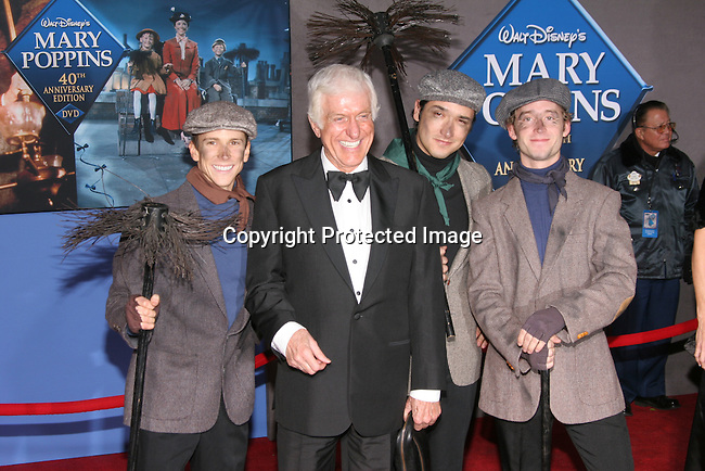 Dick Van Dyke with chimney sweeps<br />&quot;Mary Poppins&quot; 40th Anniversary and Launch of the Special Edition DVD<br />El Capitan Theatre<br />Hollywood, CA, USA<br />Tuesday, November 30th, 2004<br />Photo By Celebrityvibe.com/Photovibe.com, <br />New York, USA, Phone 212 410 5354, <br />email: sales@celebrityvibe.com