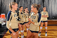 11 September 2011:  FIU outside hitter Una Trkulja (7) and setter Jessica Egan (6) enjoy a light moment prior to the match.  The FIU Golden Panthers defeated the Florida A&M University Rattlers, 3-0 (25-10, 25-23, 26-24), at U.S Century Bank Arena in Miami, Florida.