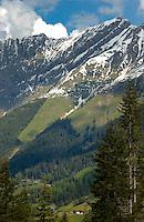 Mountains, forests, village hamlets. Hahntennjoch pass, between Imst and Reutte. Tyrol, Tirol, Austria