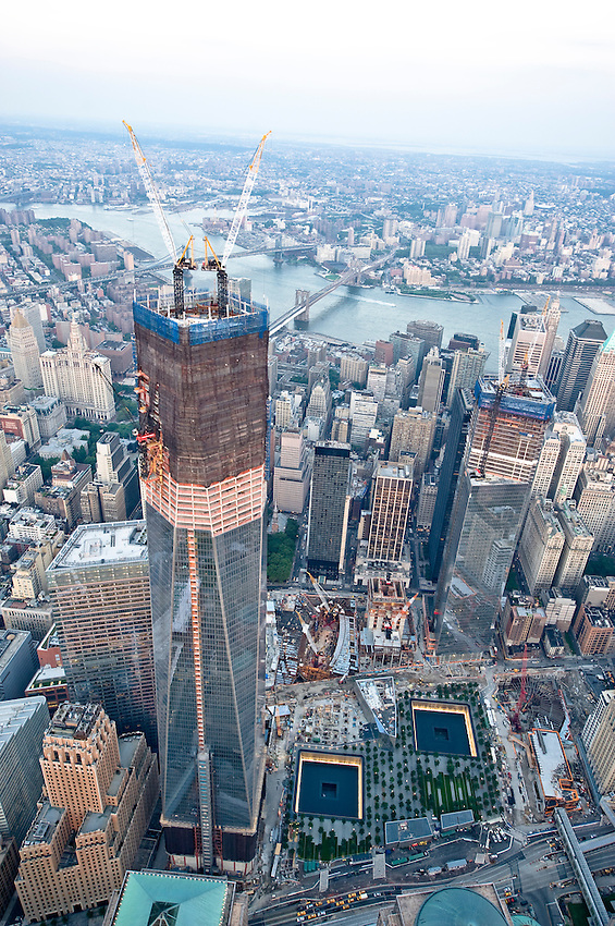 Aerial view of One World Trade Center's ongoing construction. Thursday, August 2, 2012.