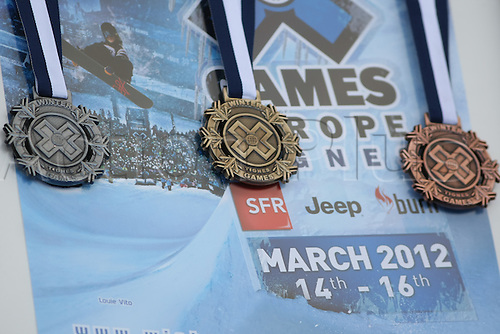 16.03.2012. Tignes, France.  X Games Tignes Europe 2012 Women's Snowboard Slopestyle final. X games medals  in Tignes, France.