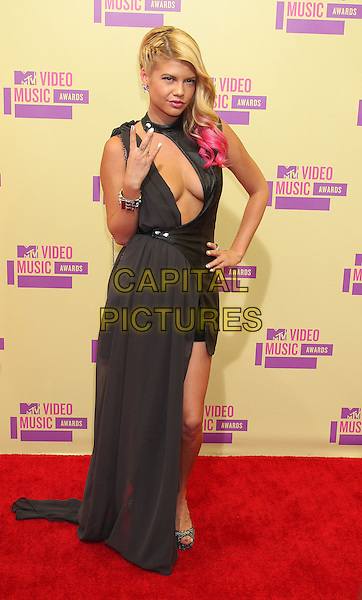 Chanel.2012 MTV Video Music Awards held at Staples Center, Los Angeles, California, USA 6th September 2012..vmas vma arrivals full length cleavage cut out  black hand pink dip dye hair collar neck dress long maxi  on hip .CAP/ADM/RE.©Russ Elliot/AdMedia/Capital Pictures.