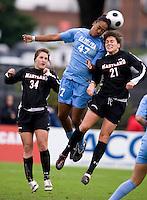 Jessica MacDonald, Molly Dreska. UNC defeated Maryland, 1-0, during the regular season finale at College Park, Maryland.