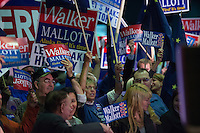 Supporters of Independent gubernatorial candidate Bill Walker rally at Election Central in the Egan Center Nov. 4.