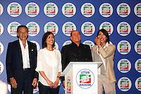 Manifestazione elettorale di Forza Italia a sostegno del candidato sindaco del centrodestra nelle prossime elezioni amministrative<br /> Mara Carfagna e Silvio Berlusconi, Gianni Lettieri Nunzia de Girolamo