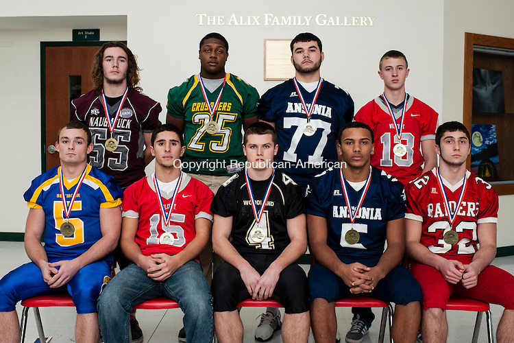WATERBURY, CT-16 December 2014-121614EC10-  ALL-NVL DEFENSE: First row, left to right: Joey Salemme (Seymour), Vincent Gambino (Wolcott), Sean McAllen (Woodland), Tyler Bailey (Ansonia), Ricky Bartone (Derby). Second row, left to right: P.J. Murphy (Naugatuck), Gerron Pendarvis (Holy Cross), Tyler O&rsquo;Connell (Ansonia), Ed Parenti (Wolcott).<br /> Missing from photo: Julian Falcioni (Seymour), Chris Quarles (Naugatuck), Jai&rsquo;Quan McKnight (Ansonia), Owen Diaz (Oxford). Erin Covey Republican-American