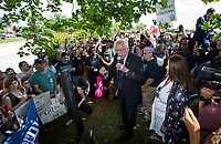 NWA Democrat-Gazette/BEN GOFF @NWABENGOFF<br /> U.S. Sen. Bernie Sanders (I-Vt.) speaks to a crowd of his supporters gathered Wednesday, June 5, 2019, outside the Walmart shareholders formal business meeting at the John Q. Hammons Center in Rogers.