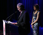 Douglas Aibel and Sarah Stern on stage during the Vineyard Theatre Gala 2018 honoring Michael Mayer at the Edison Ballroom on May 14, 2018 in New York City.
