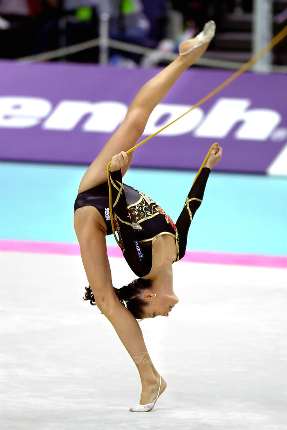 02 OCTOBER 1999 - OSAKA, JAPAN:  Elena Vitrichenko of Ukraine performs with rope at the 1999 World Championships in Osaka, Japan.  Elena took 5th in the all-around.
