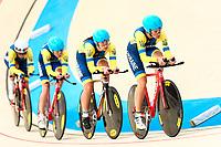 Picture by Alex Whitehead/SWpix.com - 09/12/2017 - Cycling - UCI Track Cycling World Cup Santiago - Velódromo de Peñalolén, Santiago, Chile - Ukraine's Oksana Kliachina, Valeriya Kononenko, Anna Nahirna and Ganna Solovei compete in the Women's Team Pursuit first round.