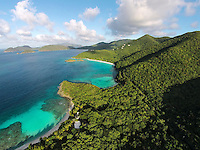 Aerial view of Denis Bay, Jumby Bay and Trunk Bay<br />