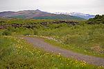 View of Eiriksjokull and Langjokull Glaciers near Husafell in Iceland