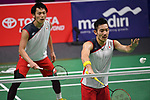 Keigo Sonoda & Takeshi Kamura (JPN), <br /> AUGUST 19, 2018 - Badminton : Men's Team round 16 at Gelora Bung Karno Istora during the 2018 Jakarta Palembang Asian Games in Jakarta, Indonesia. <br /> (Photo by MATSUO.K/AFLO SPORT)