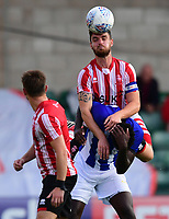 Lincoln City's Luke Waterfall vies for possession with Sheffield Wednesday's Lucas Joao<br /> <br /> Photographer Chris Vaughan/CameraSport<br /> <br /> Football Pre-Season Friendly - Lincoln City v Sheffield Wednesday - Friday 13th July 2018 - Sincil Bank - Lincoln<br /> <br /> World Copyright &copy; 2018 CameraSport. All rights reserved. 43 Linden Ave. Countesthorpe. Leicester. England. LE8 5PG - Tel: +44 (0) 116 277 4147 - admin@camerasport.com - www.camerasport.com