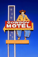 Cowboy Motel sign on old Route 66 in Amarillo, Texas.