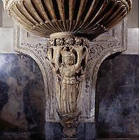Palermo, the cathedral, detail of the stoup, 15th or 16th century.<br /> Cattedrale di Palermo, acquasantiera.dettaglio, XV o XVI sec.