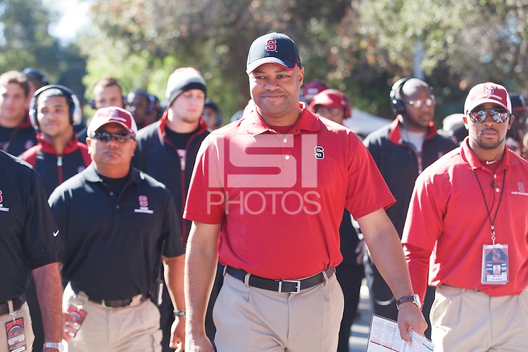 STANFORD, CA -- October 27, 2012: David Shaw, head football coach, during &quot;The Walk&quot; before the Stanford vs Washington State game Saturday afternoon at Stanford Stadium.<br /> <br /> Stanford won 24-17.