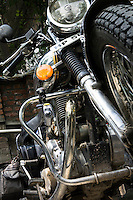 The Sony ActionCam POV cameras mounted on the Royal Enfield motorcycle the Suzanne Lee and Sanjit Das used to ride Across the Indian Himalayas on Royal Enfield motorcycles. Photo by Suzanne Lee/Panos Pictures