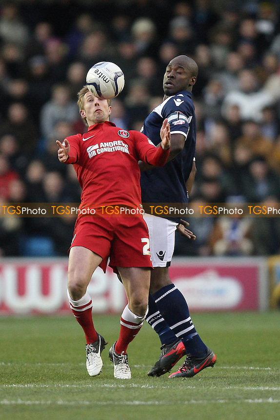 Danny Shittu of Millwall and Rob Hulse of Charlton Athletic - Millwall vs Charlton Athletic - NPower Championship Football at the New Den, London - 01/12/12 - MANDATORY CREDIT: Gavin Ellis/TGSPHOTO - Self billing applies where appropriate - 0845 094 6026 - contact@tgsphoto.co.uk - NO UNPAID USE.