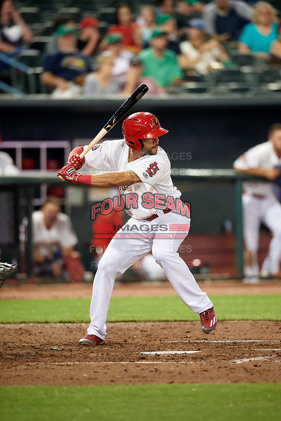 Memphis Redbirds center fielder Tommy Pham (27) at bat during a game against the Round Rock Express on April 28, 2017 at AutoZone Park in Memphis, Tennessee.  Memphis defeated Round Rock 9-1.  (Mike Janes/Four Seam Images)