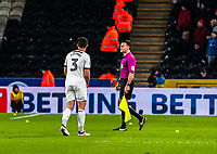 Sheffield United's defender Enda Stevens (3) talks to the assistant about the balls during the Sky Bet Championship match between Hull City and Sheff United at the KC Stadium, Kingston upon Hull, England on 23 February 2018. Photo by Stephen Buckley / PRiME Media Images.