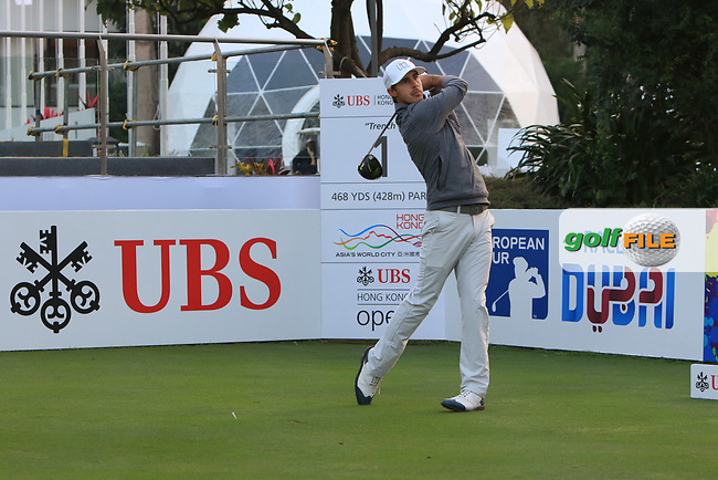 Chase Koepka (USA) on the 1st tee during Round 1 of the UBS Hong Kong Open, at Hong Kong golf club, Fanling, Hong Kong. 23/11/2017<br /> Picture: Golffile | Thos Caffrey<br /> <br /> <br /> All photo usage must carry mandatory copyright credit     (&copy; Golffile | Thos Caffrey)