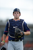 Minnesota Twins catcher Bryan Santy (31) during a minor league spring training game against the Baltimore Orioles on March 20, 2014 at the Buck O'Neil Complex in Sarasota, Florida.  (Mike Janes/Four Seam Images)