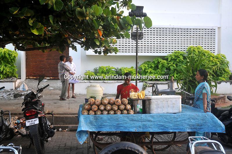 A fruit juice vendor on a street in Pondycherry.Arindam Mukherjee/Sipa