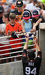 San Francisco Giants' Aaron Hill signs autographs before a spring training game against the Milwaukee Brewers in Phoenix, AZ, on Thursday, March 23, 2017.<br /> Photo by Cathleen Allison/Nevada Photo Source