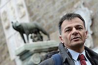 Roma, 7 Gennaio 2016<br /> Stefano Fassina candidato a sindaco di Roma.<br /> Flash mob in Campidoglio di SeL contro la chiusura e la privatizzazione dei nidi comunali