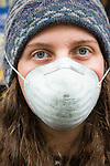 A protestor takes part in the March in March outside the TVA headquarters in Knoxville, Tennessee. The protestors were protesting coal mining during an event called Mountain Justice Spring Break on March 14, 2009.