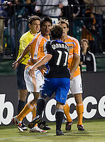 Houston's Brian Ching and Brian Mullan argue with San Jose's Ned Grabavoy. San Jose Earthquakes 2, Houston Dynamo 1. Buck Shaw Stadium, California. Thursday, May 22, 2008.