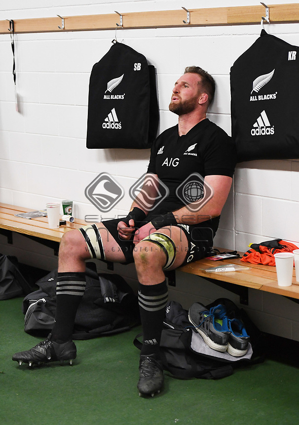 An exhasted All Blacks Captain Kieran Read after winning the match 35-29.<br /> Bledisloe Cup and Rugby Championship test match. New Zealand All Blacks v Australian Wallabies at Forsyth Barr Stadium, Dunedin, New Zealand. Saturday 26 August 2017. © Copyright photo: Andrew Cornaga / www.Photosport.nz